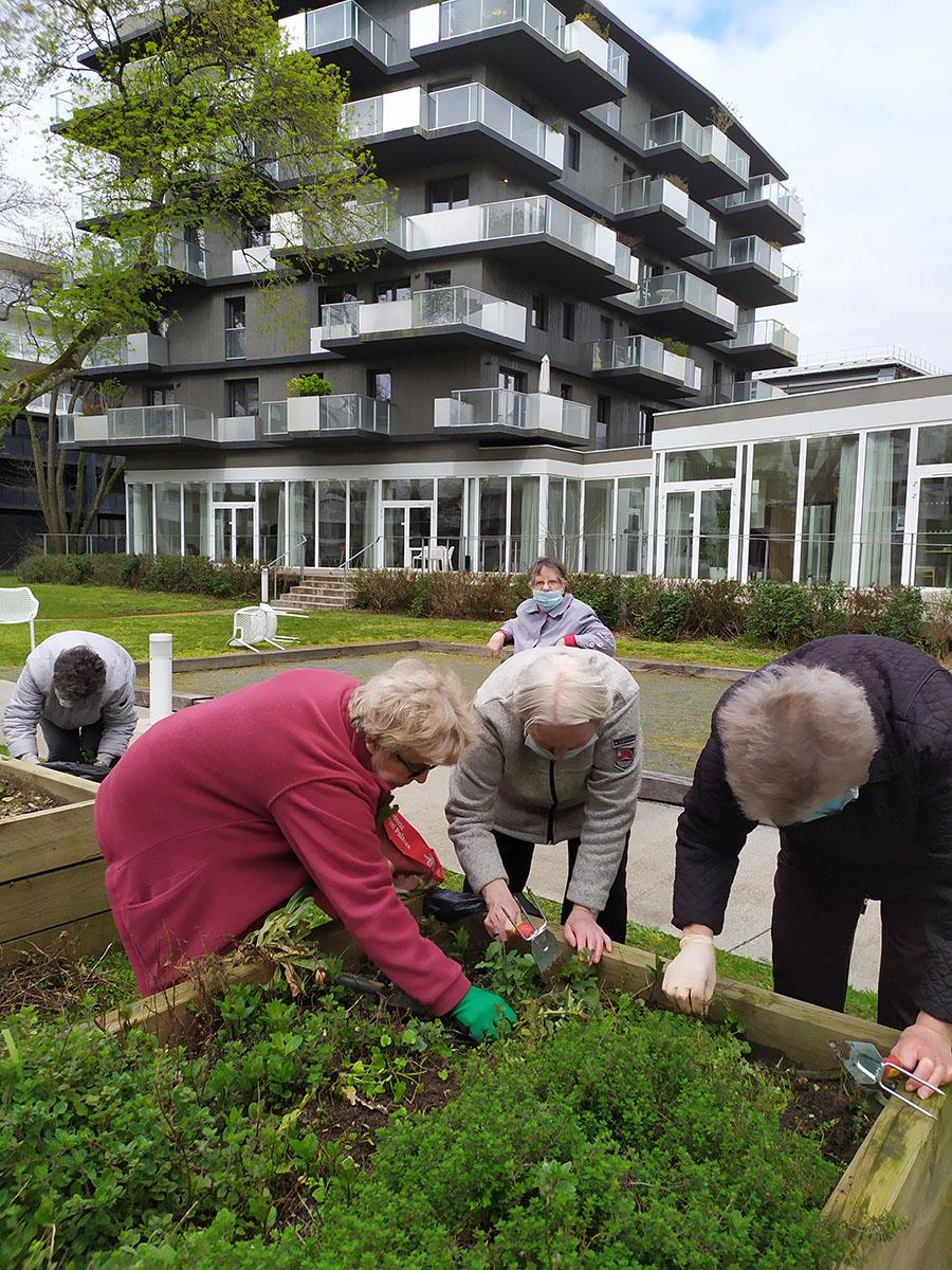 Les résidents en animation jardinage à Danaé Bègles